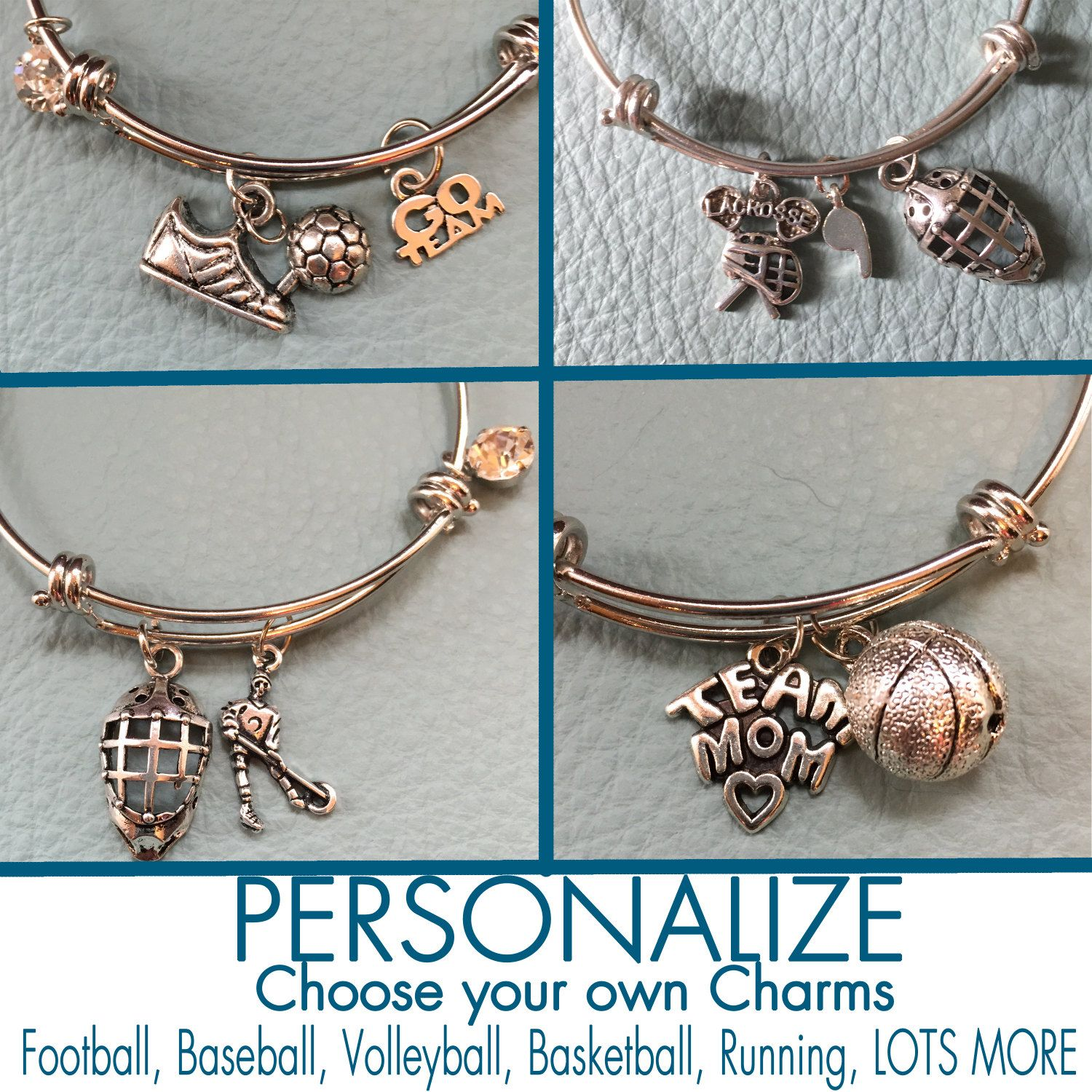 Sports Customize Alex & Ani Inspired Your Own Silver Bracelet Charms,  Personalized Gift, Volleyball