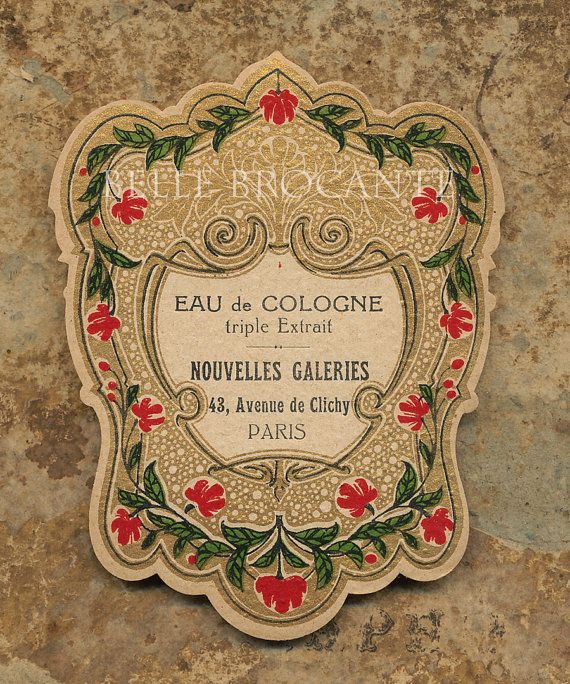 Antique Vintage French Apothecary Perfume Label 45