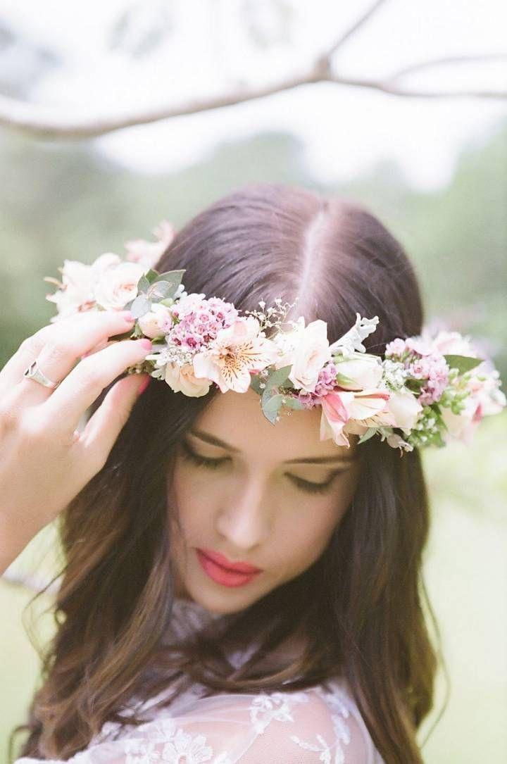 novia cabello suelto (1) | boda | pinterest | corona flores pelo