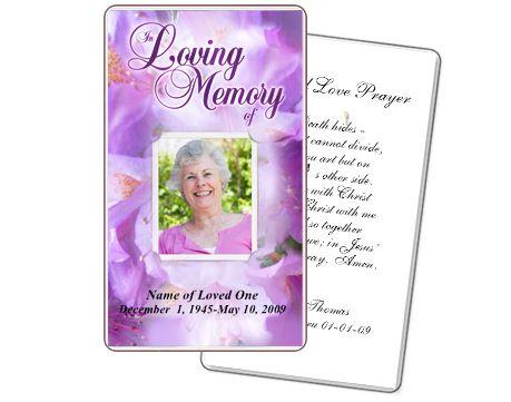 Prayer Card Template: Lavender Floral Prayer Cards | Prayer Cards ...