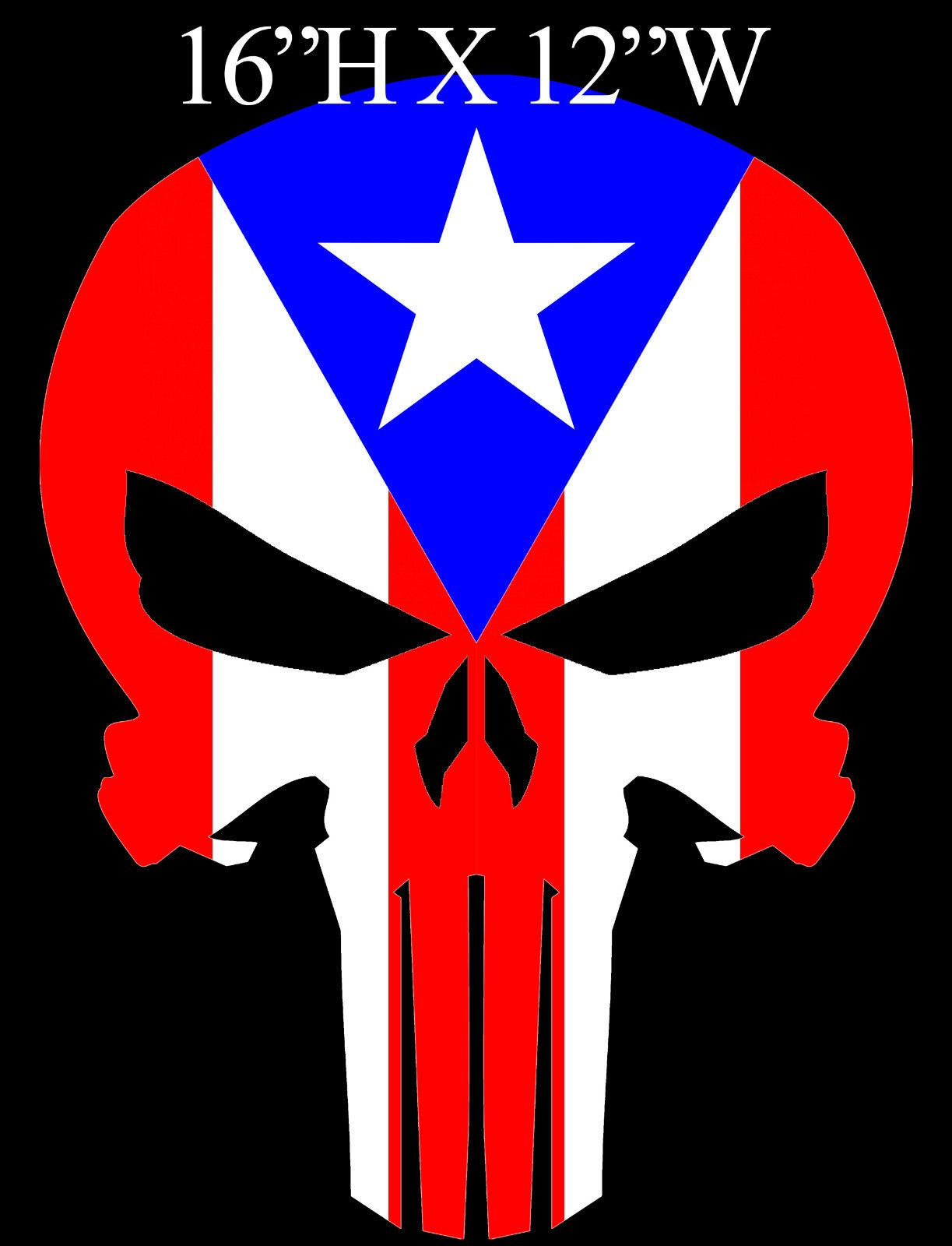 Puerto rico flag decal puerto rican flag decal the punisher skull