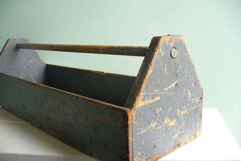 Vintage Rustic Wooden Tool Caddy Grey Gray Handmade