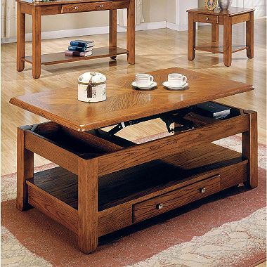Logan Oak Lift Top Cocktail Table Convertible Coffee Table Oak