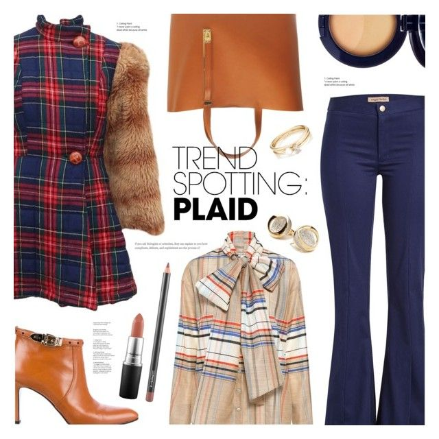 """NYFW Trend Spotting: Plaid"" by ames-ym ❤ liked on Polyvore featuring Betsey Johnson, Maggie Marilyn, SUNO New York, Sophie Hulme, Gucci, MAC Cosmetics, Estée Lauder, ANTONINI, Loren Stewart and contestentry"