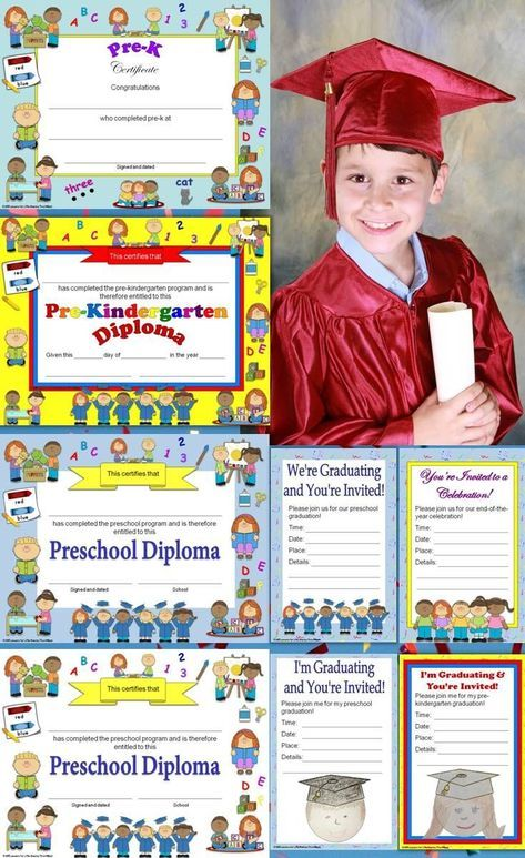 preschool diplomas certificates graduation invitations editable