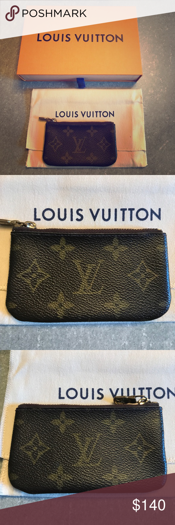 Authentic Louis Vuitton Key Holder Authentic Louis Vuitton key pouch holds keys and change. Chain and clip has come apart. Can be repaired or used without the clip. Will send with LV box and dust bag. Louis Vuitton Bags Wallets
