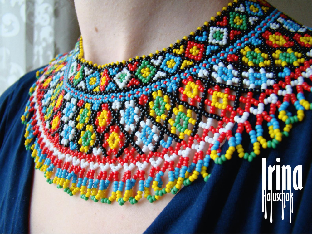 Blue necklace with flowers Beaded necklace Beaded necklace with flower Ukraine necklace Bead necklace ethnic