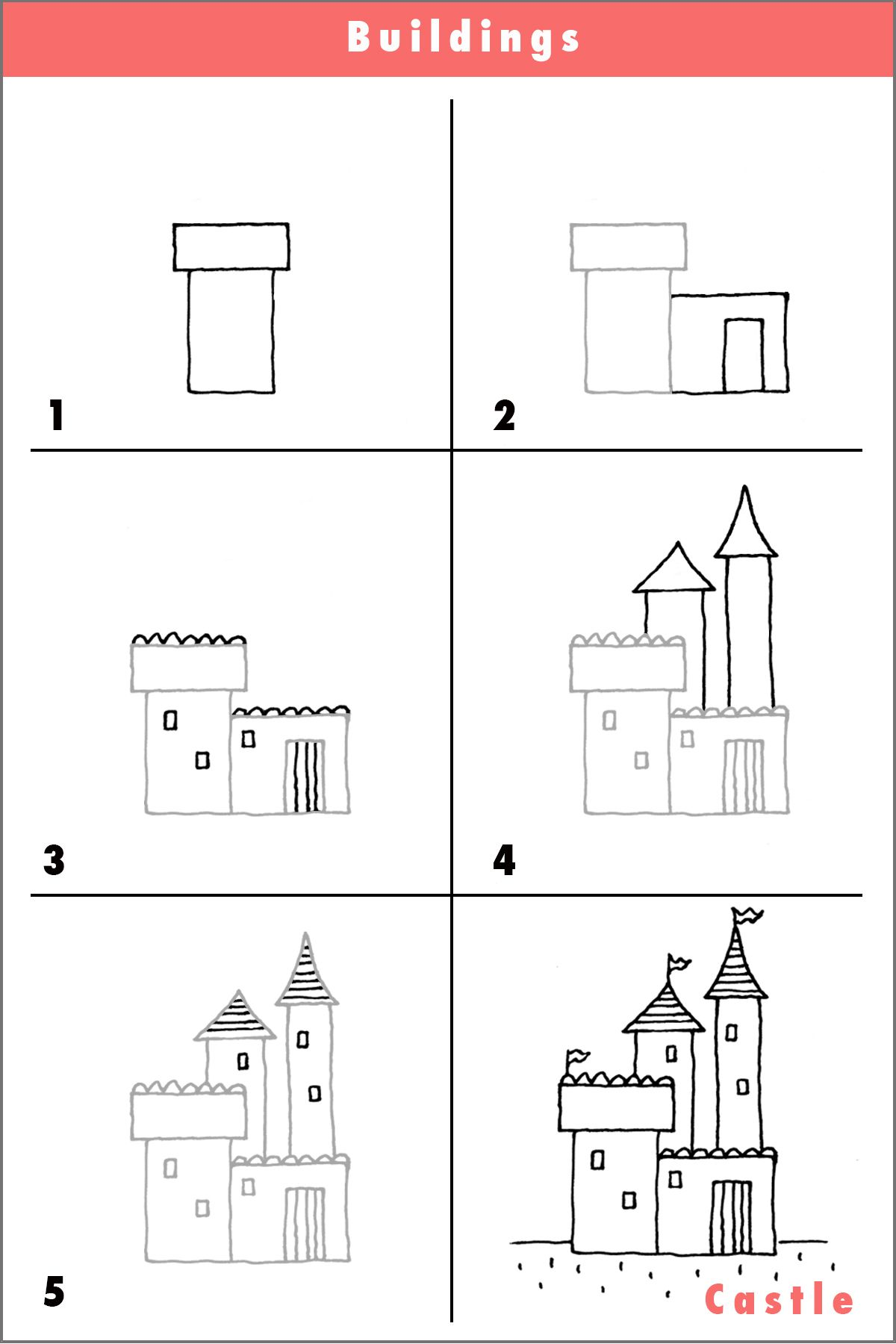 Draw a castle castles crown and queens for Step by step to build a house yourself