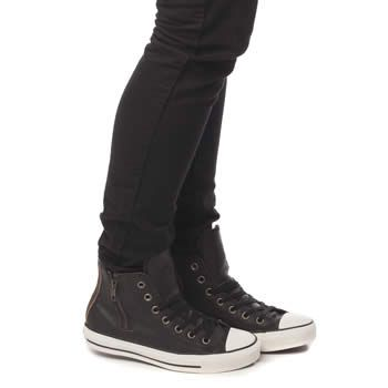 6aa878d360b0 Women s Black   Gold Converse ALL STAR Side Zip Leather Hi at schuh ...