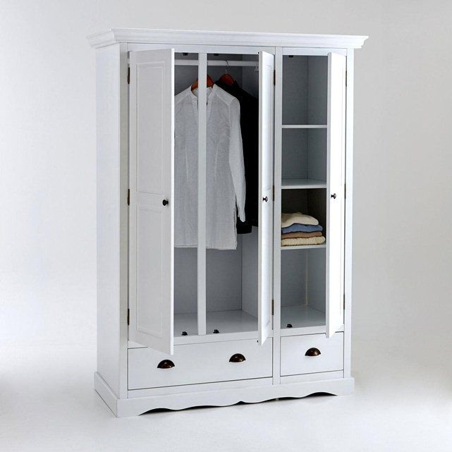 armoire 3 portes pin massif laqu penderie et ling re. Black Bedroom Furniture Sets. Home Design Ideas
