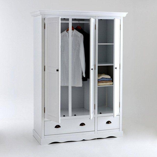 Armoire 3 portes, pin massif laqué, penderie et lingère, Authentic Style La Redoute Interieurs - 615,37€