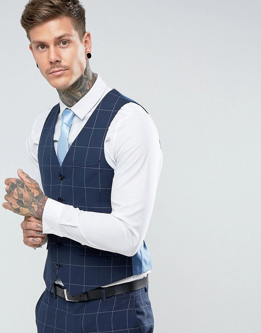 Skinny Fit Blue Grid Waistcoat - Blue Harry Brown For Cheap Online xNkfT