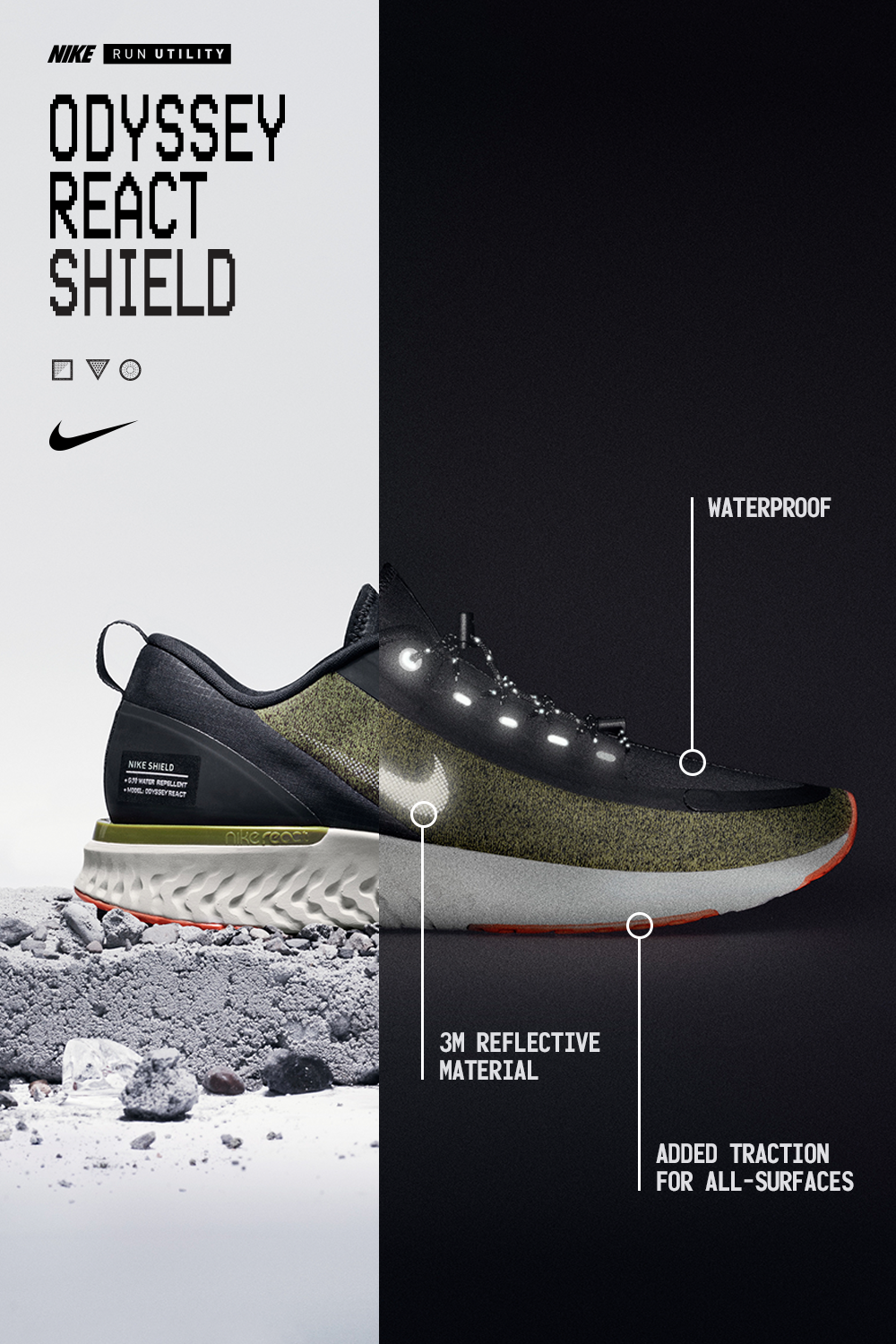 Inclement Weather Not A Problem With A Waterproof Upper And Added Traction On Any Surface The Nike Odyssey React Shoe Poster Nike Waterproof Shoes Shoes Ads