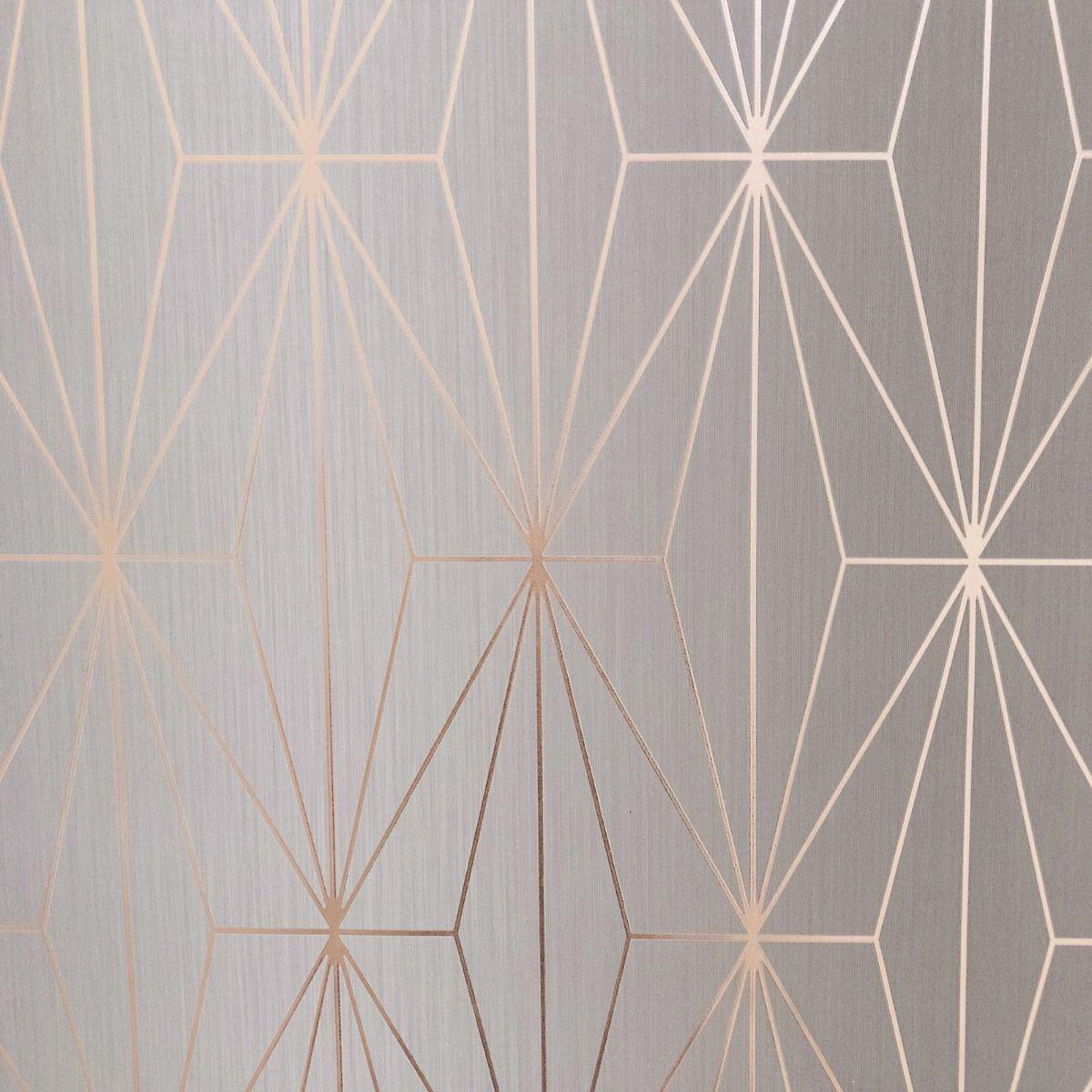Kayla Metallic Geometric Wallpaper Grey / Rose Gold Muriva ...