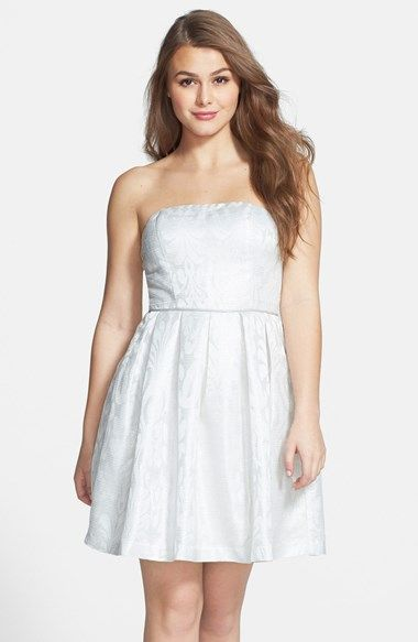 Free shipping and returns on a. drea Metallic Stripe Strapless Skater Dress (Juniors) at Nordstrom.com. (Dry Clean)