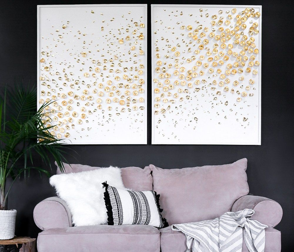 D art diyuegiant canas abstract tutorialue gold leaf decor diy