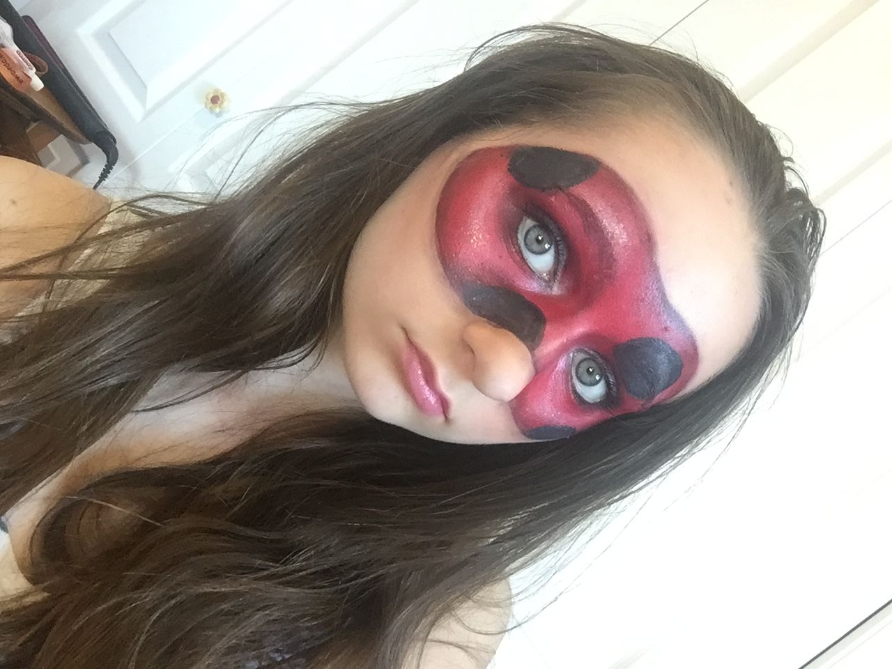 Ladybug Mask Made With Makeup Inspiracao De Maquiagem Maquiagem