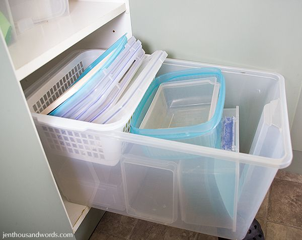 Organize plastic food storage containers and their lids in larger
