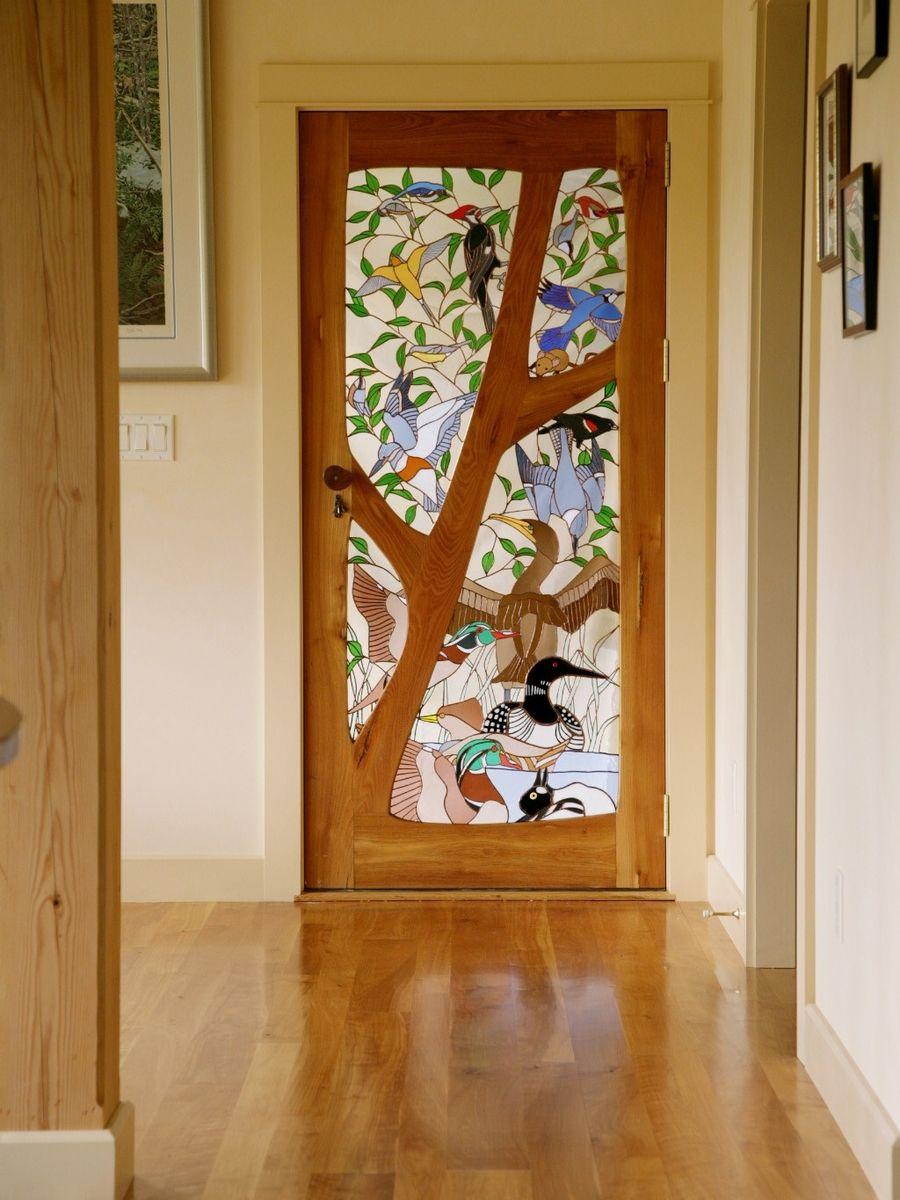 custom made stained glass door birds portes et fen tres pinterest vitraux portes et. Black Bedroom Furniture Sets. Home Design Ideas