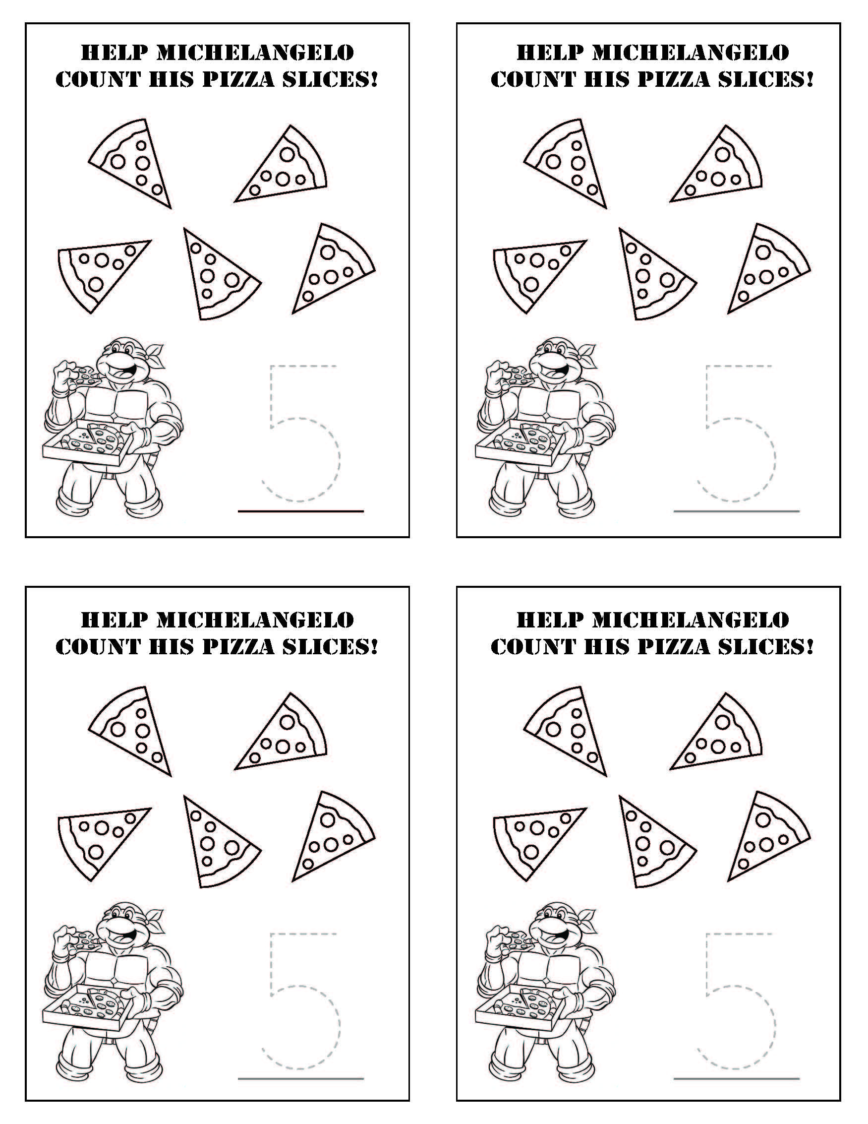 Teenage Mutant Ninja Turtles Tmnt Counting Activity Sheet