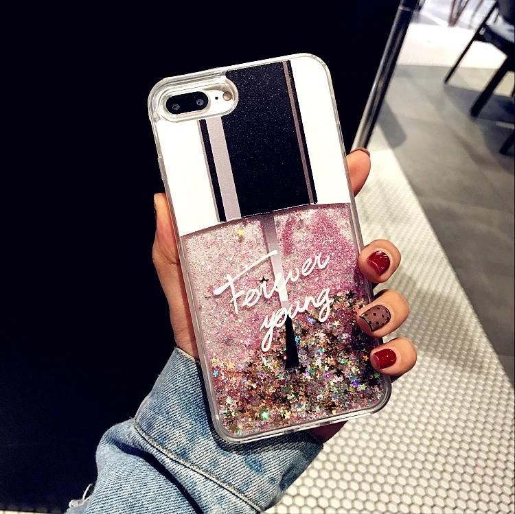 For Coque iPhone XS Max iPhone 7 Case Cover glitter Liquid