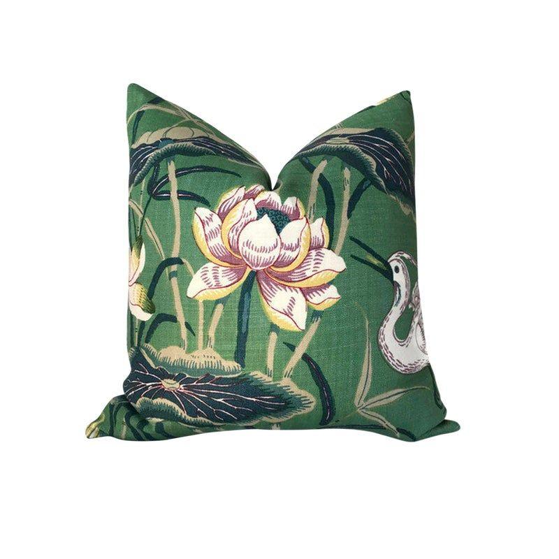 Chinoiserie Lotus Jade Green Garden Pillow Cover In 2021 Garden Pillows Pillows Pillow Covers