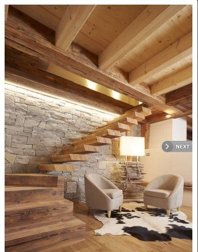 scala parete baita legno bianco pietra home idee nel