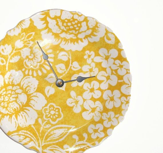 Yellow Floral Wall Clock, Yellow and White Ceramic Plate Wall Clock ...