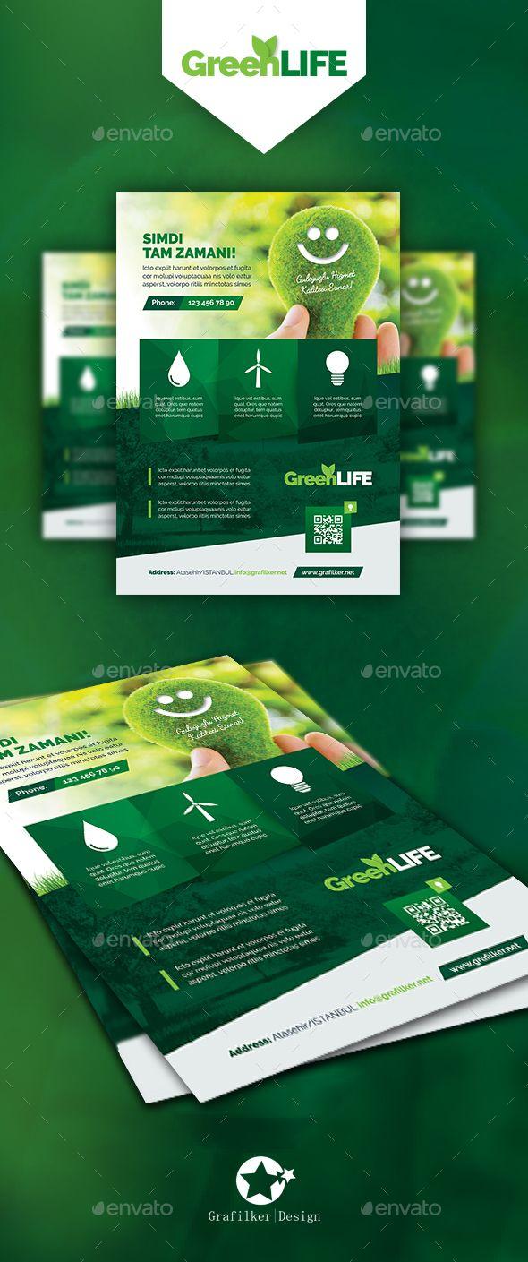 Green Energy Flyer Templates | Folletos, Energía solar y Volantes