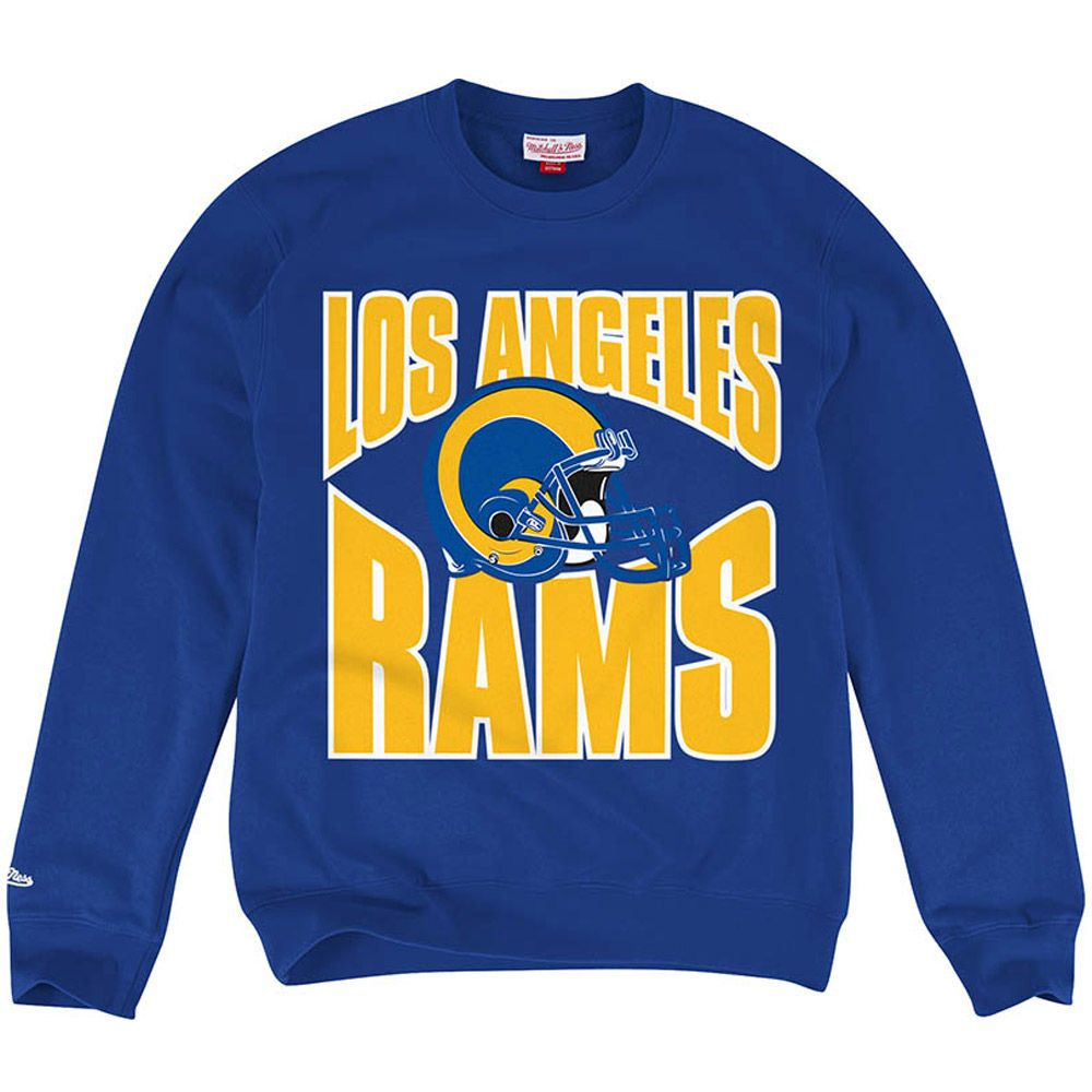 Men S Los Angeles Rams Mitchell Ness Blue Crew Pullover Sweatshirt Los Angeles Rams Team Sweatshirts Rams Football Outfit