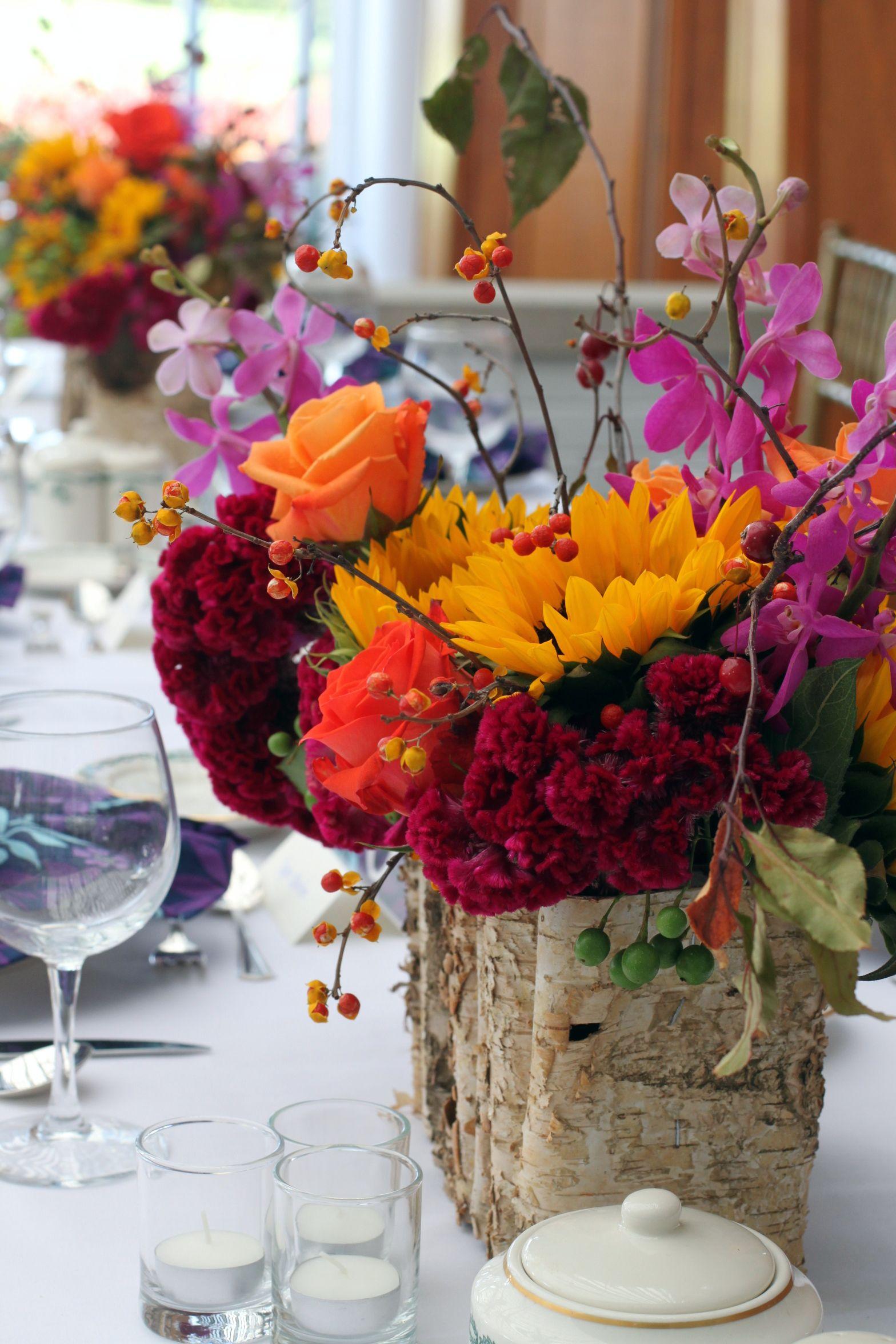 Late Summer Fall Wedding Centerpiece Orchid Sunflower Rose Coxcomb Bittersweet