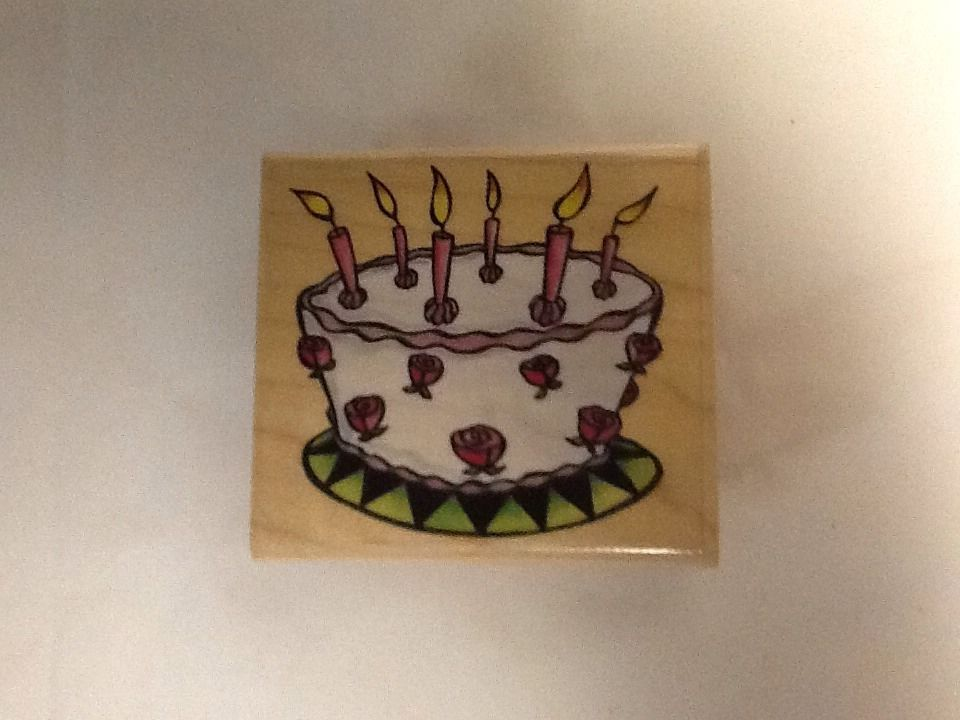 Birthday Wacky Cake Stamp Candles Roses Wood Rubber Stampede