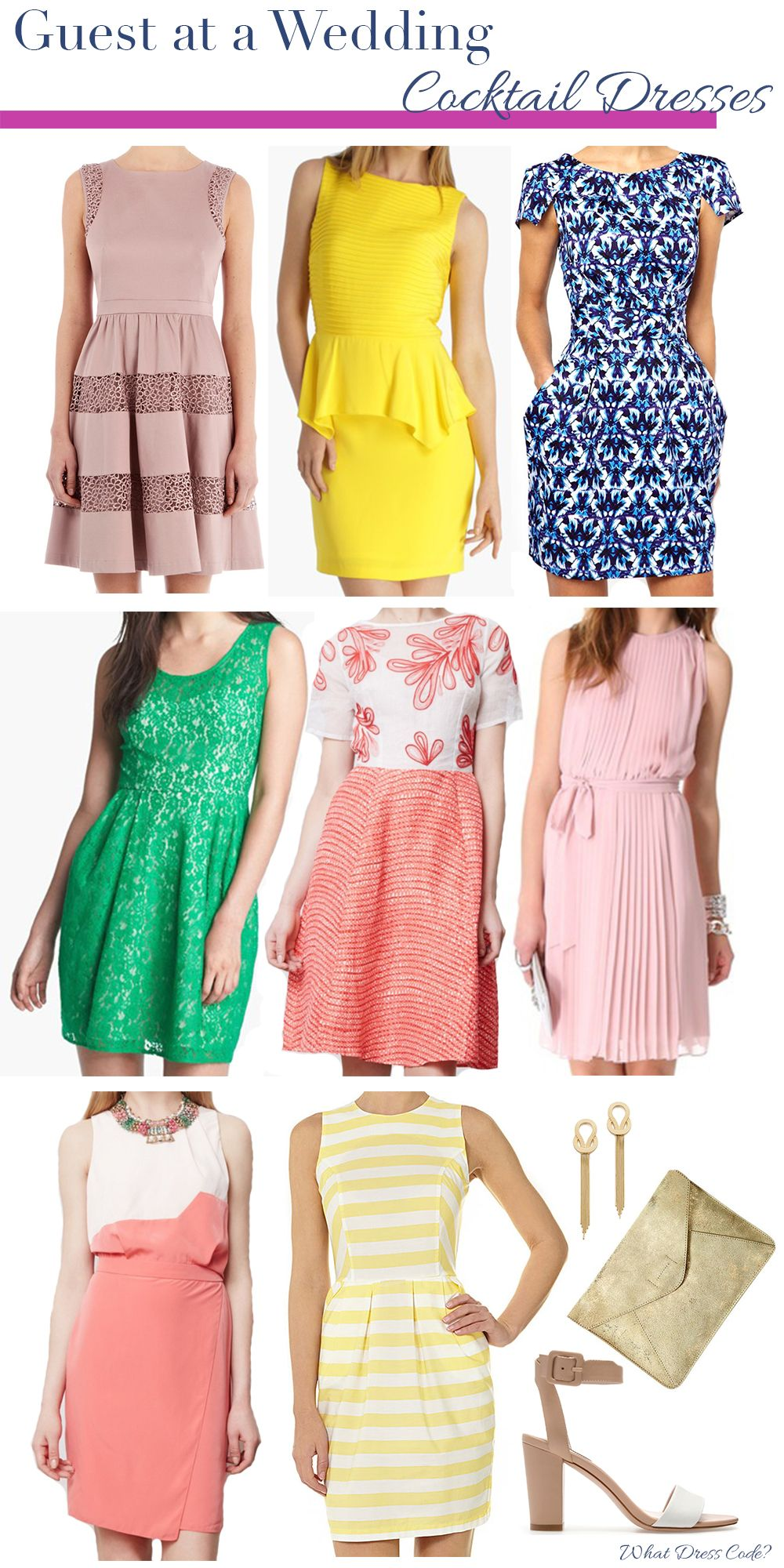 cocktail dresses for wedding What to Wear to a Wedding Cocktail Dresses weddingattire weddingdresscode weddingseason