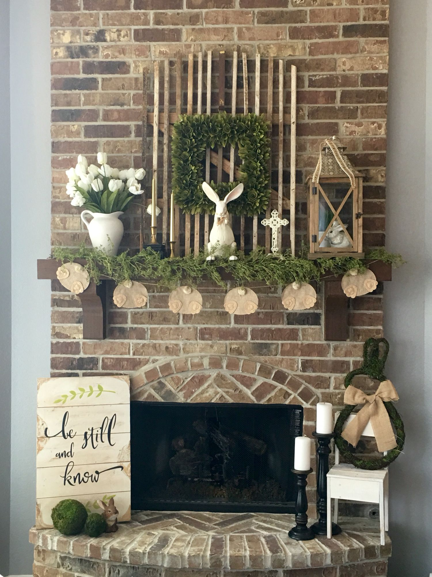 Farmhouse Rustic Fireplace Mantel Decor Easter Or Spring Decor Replace Bunnies For Spring Mantel