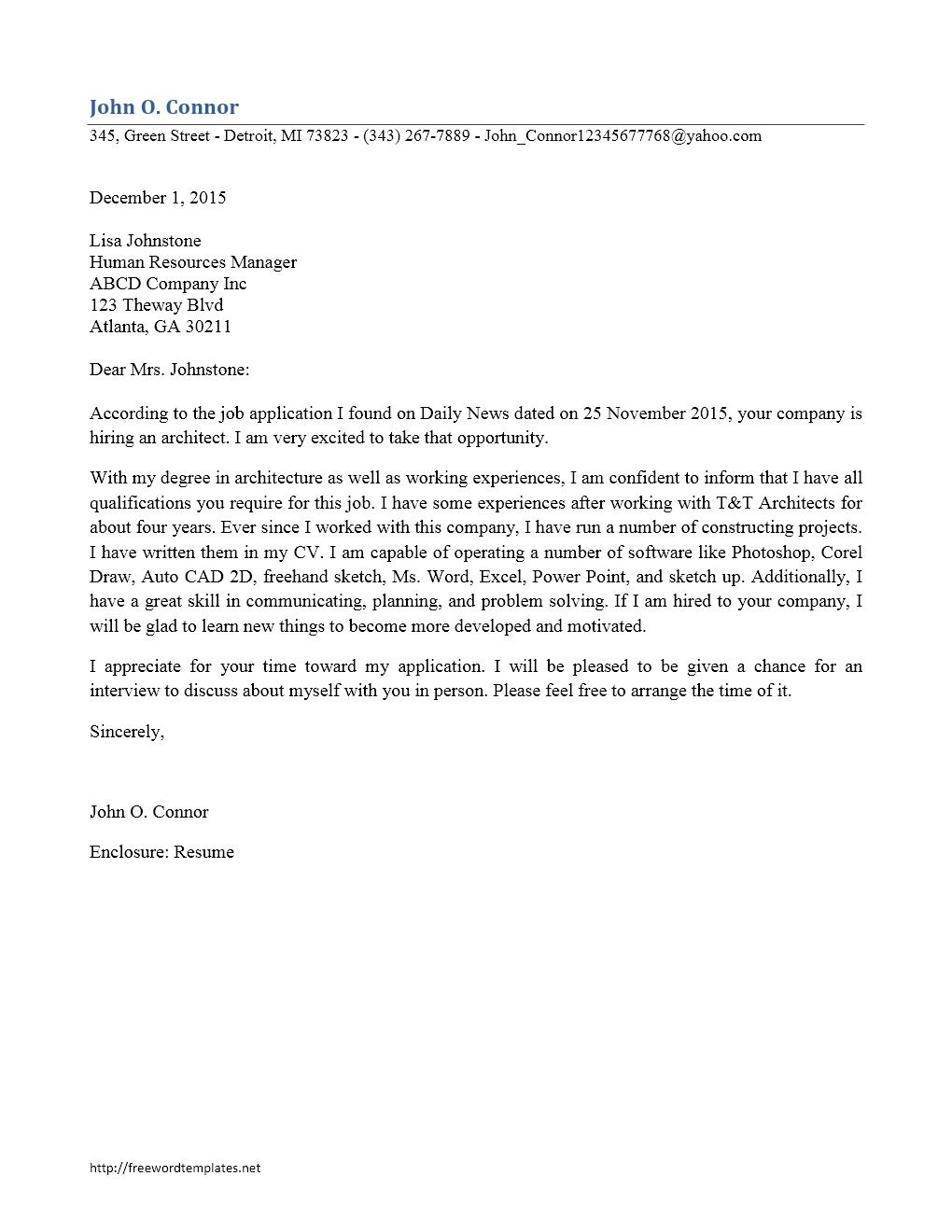 Job Application Letter For Computer Operator