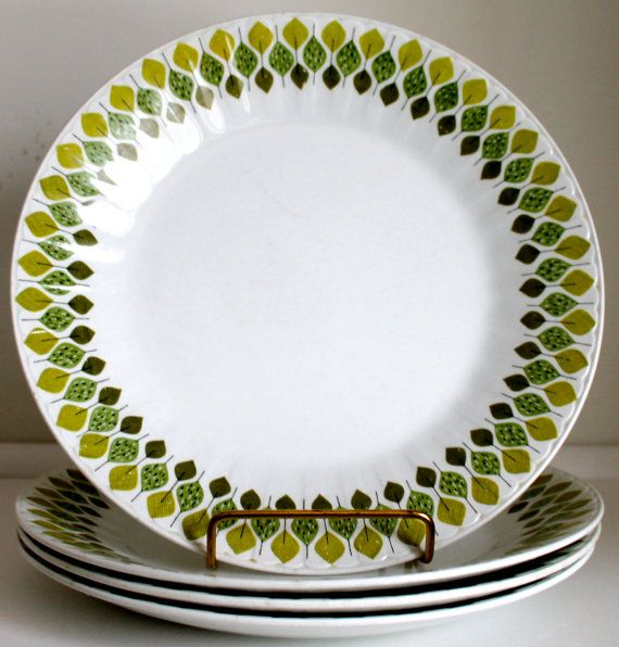 Mid Century Modern Dinner Plates Ironstone Spanish by EarthsTrove : green and white dinnerware - pezcame.com