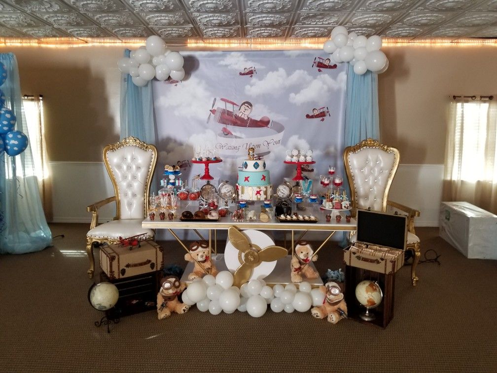 All Set Up Treats And Rental Furniture Simplycreative2 Com Airplane Party Theme Party Themes Airplane Party
