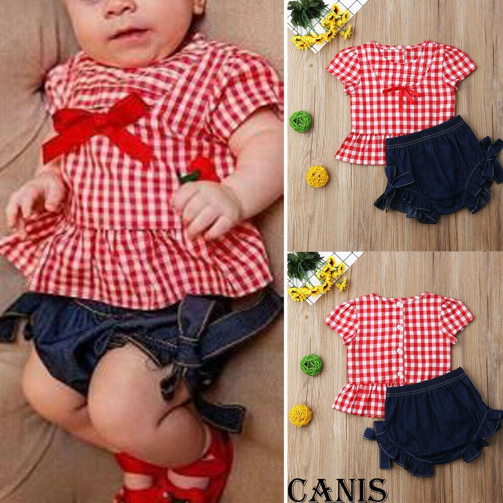 4fb09a5b24 Toddler Kids Baby Girl Summer Tops T-shirt Denim Shorts 2Pcs Outfits ...