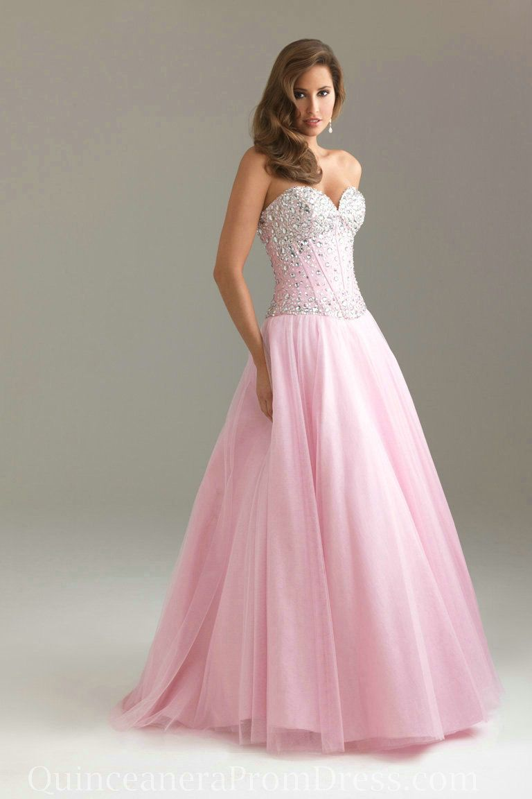 Organza Strapless Beaded A Line Pink Corset Prom Dress Designs ...