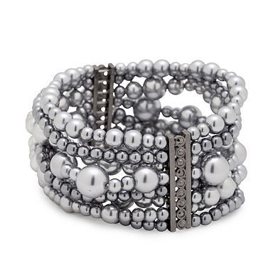 Grey Tonal Pearl Multi Row Stretch Bracelet - Bracelets - Jewellery - Women -