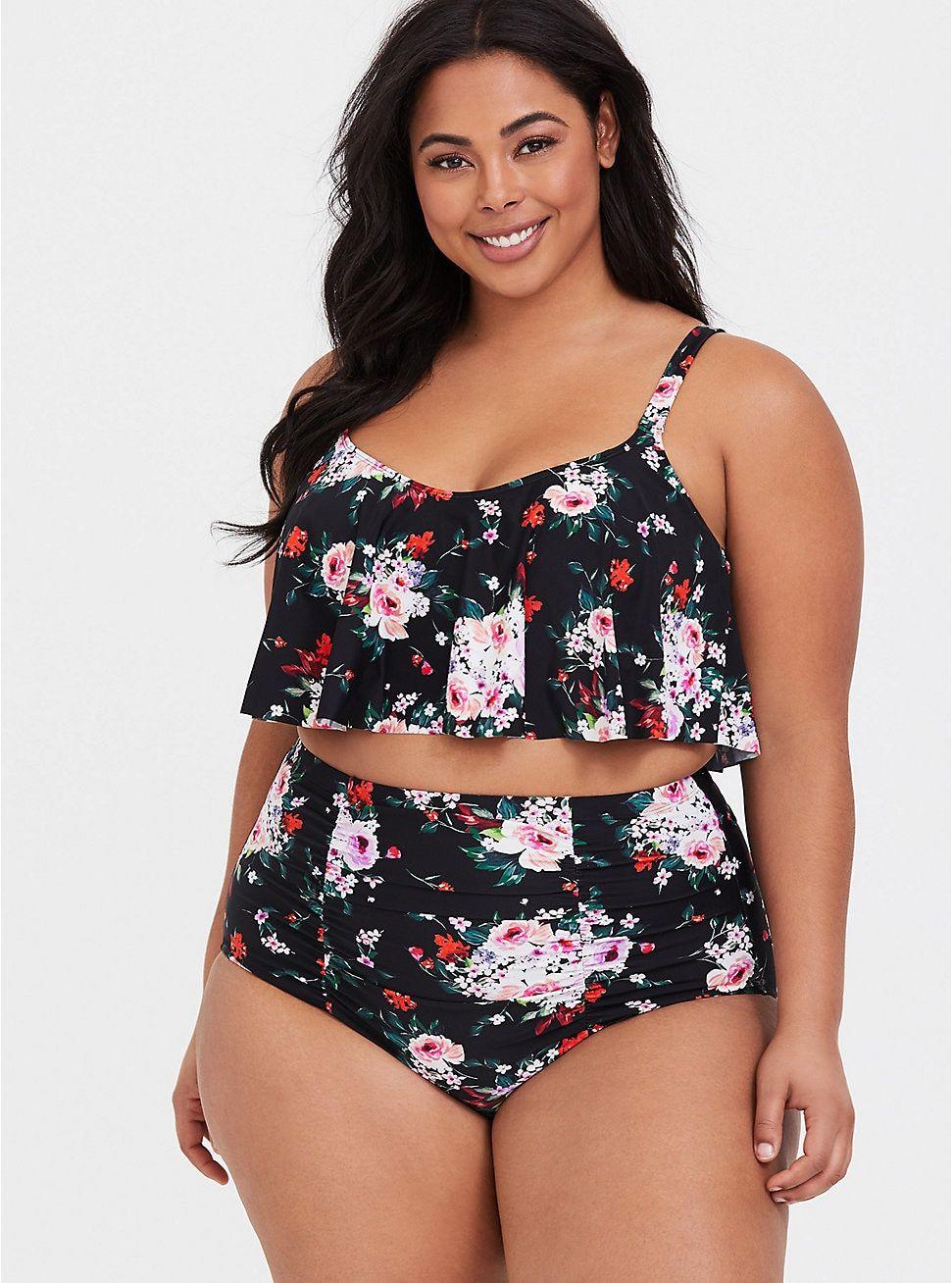 83e53ce9ce Plus Size Floral Flounce Wireless Bikini Top