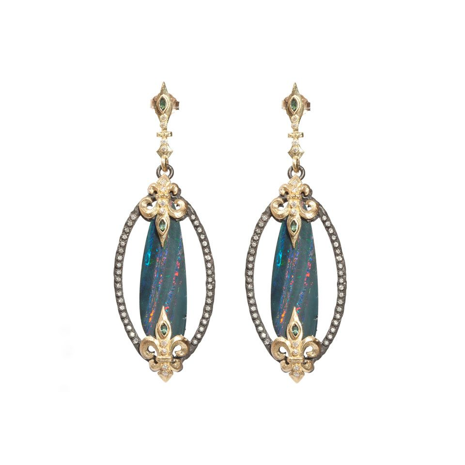 Armenta Old World Open Oval Drop Earrings with Diamonds G6UW1w5R5