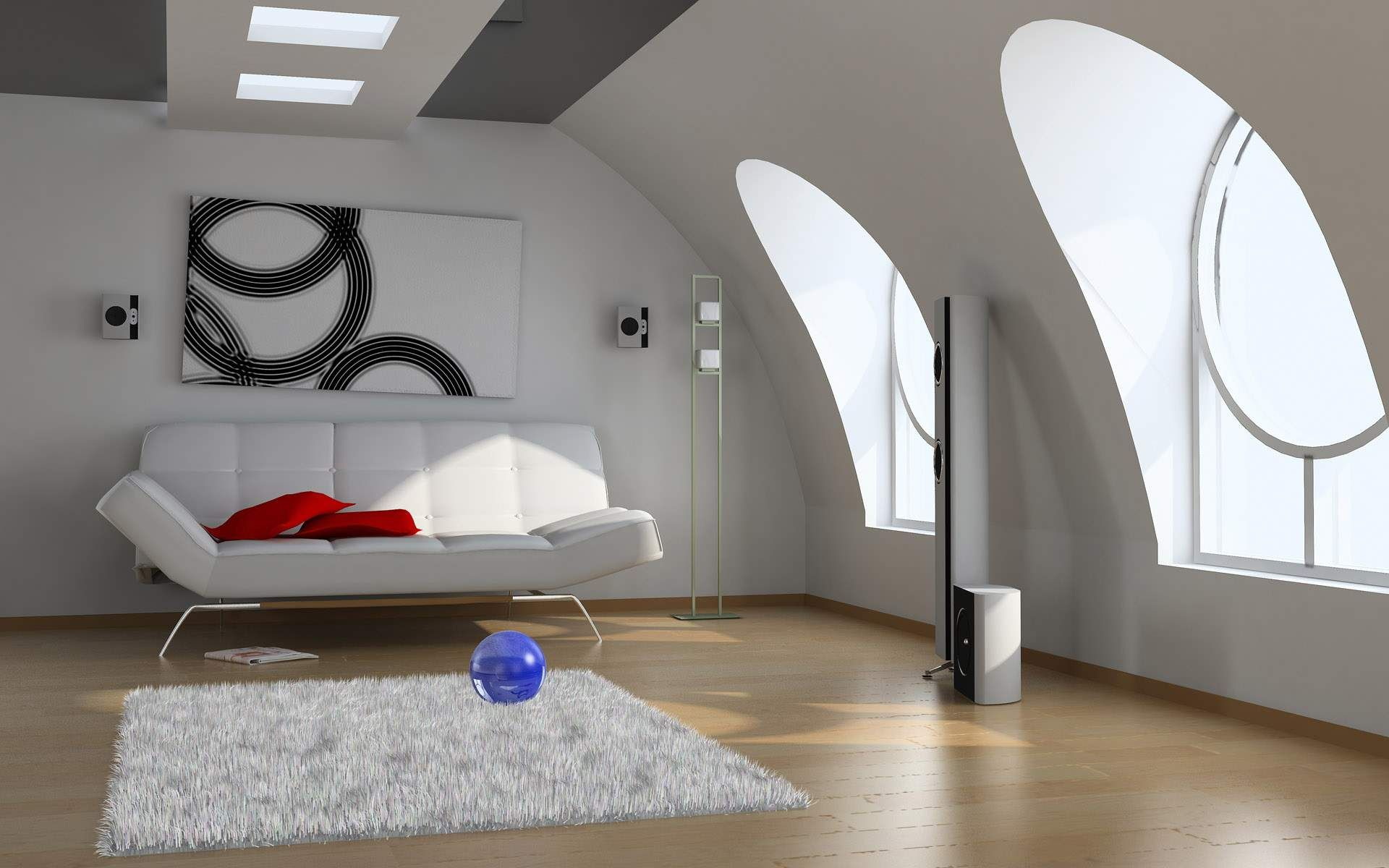 Interior Design Living Room With Unique Shape Windows Image