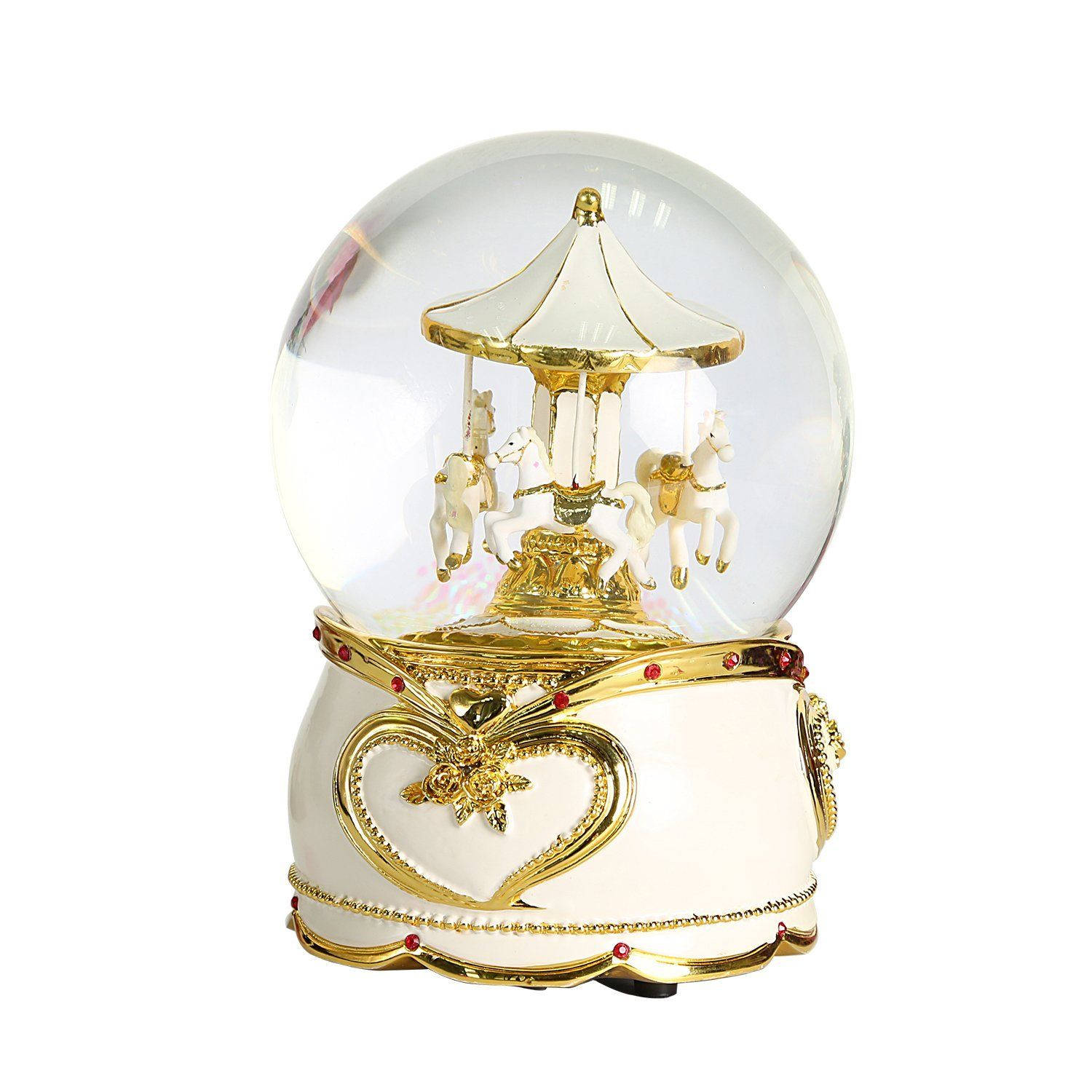 3d carousel in crystal musical water globe wif led tune