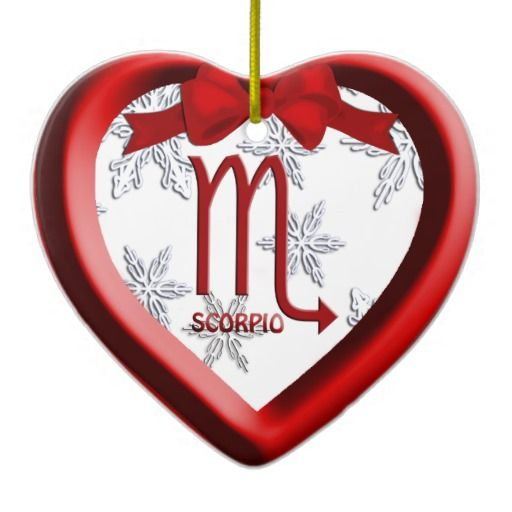 Scorpio Heart | Scorpio Red Heart Snowflake Christmas Ornament