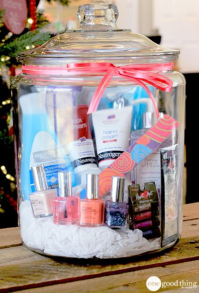 Mani-Pedi In A Jar  Winter weather can wreak havoc on hands and feet! Give the gift of soft and pretty fingers and toes with this mani-pedi gift in a jar. Great gift for a girl or a guy (the guys can re-gift the polish and glitter if they want!) :-)