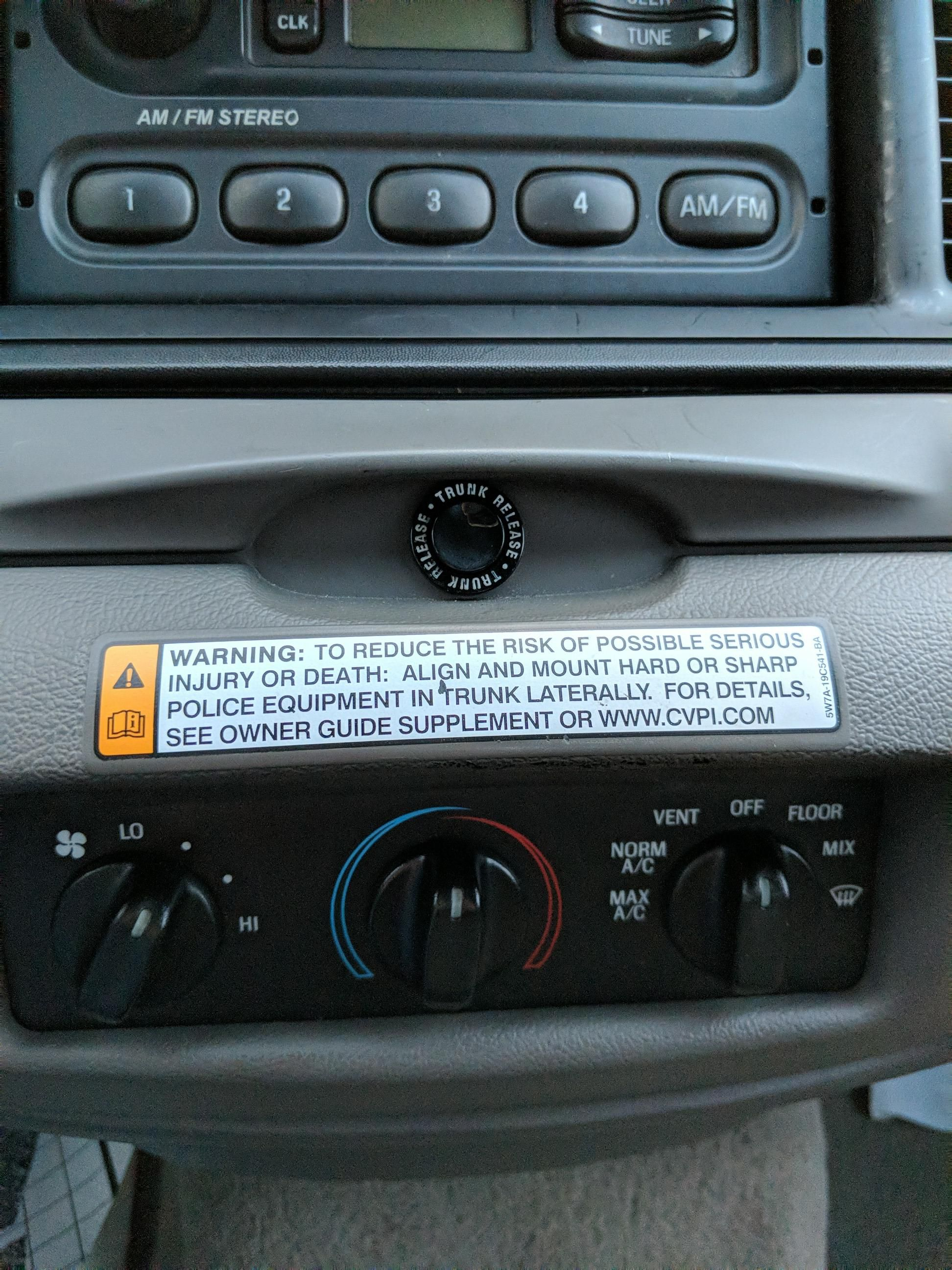 The Warning Label You Get On Dashboard When A Ford Crown Victoria Police
