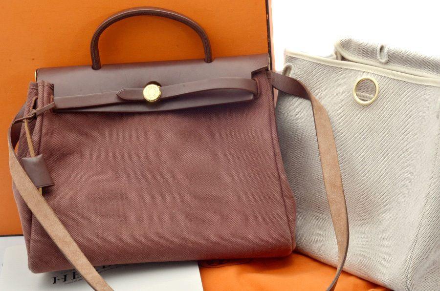 7e8f6466132f Hermes Herbag PM Burgundy Leather Canvas Shoulder Hand Bag