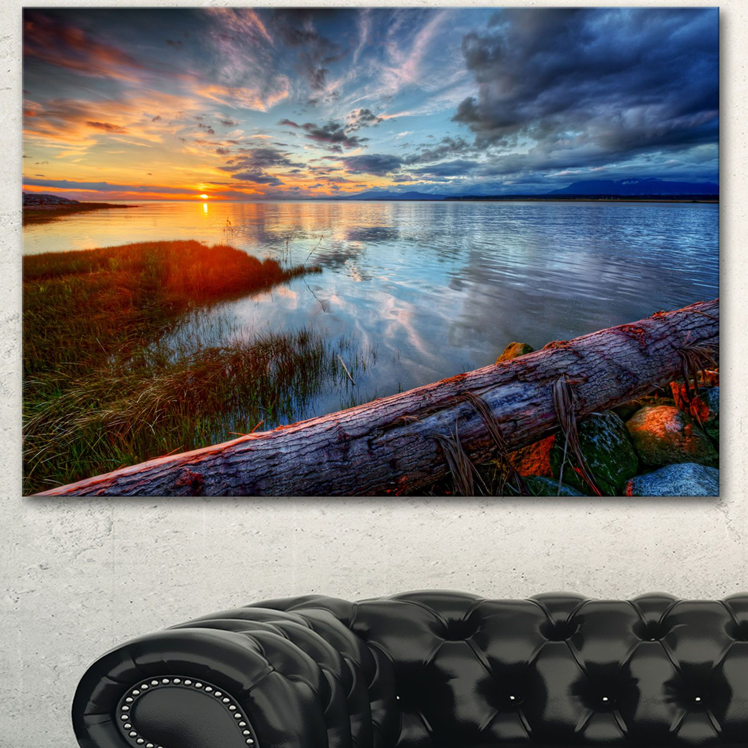 Designart 'Colorful River Sunset With Log' shore Art Print on Canvas