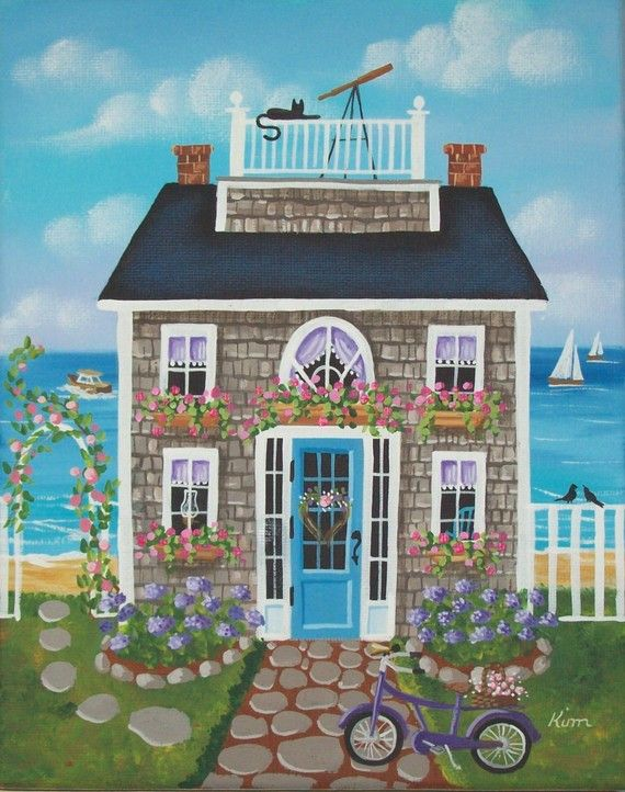 Nantucket Breeze Cottage Original Folk Art por KimsCottageArt - fachadas originales